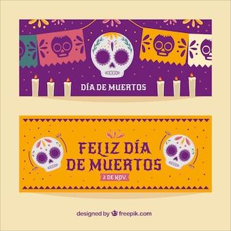 Banners de celebración del día de muertos
