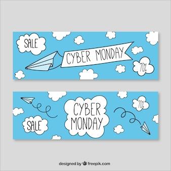 Banners de ciberlunes de nubes dibujados a mano