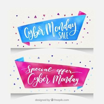 Banners de cyber monday de acuarela azul y rosa