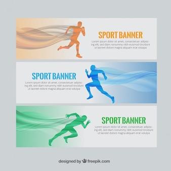 Banners de deporte con corredores y ondas