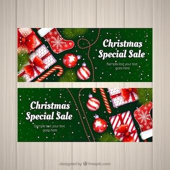 Banners de descuentos de navidad