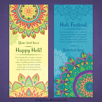 Banners de feliz holi ornamental