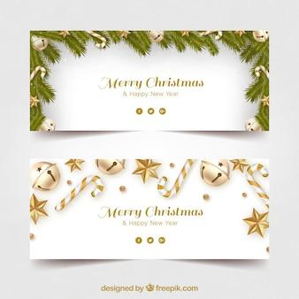Banners de feliz navidad con decoración dorada