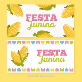 Banners de festa junina con mazorcas de maíz