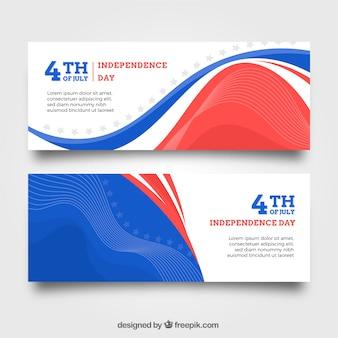 Banners de la independencia de ee.uu. con diseño plano