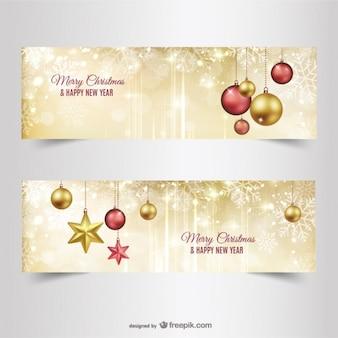 Banners de navidad con adornos dorados