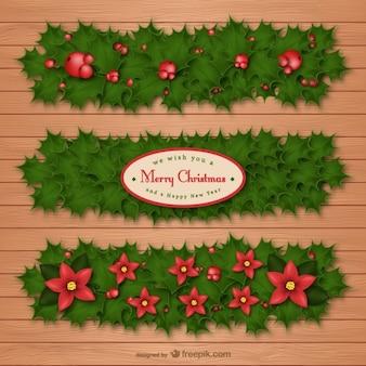 Banners de navidad con textura de acebo
