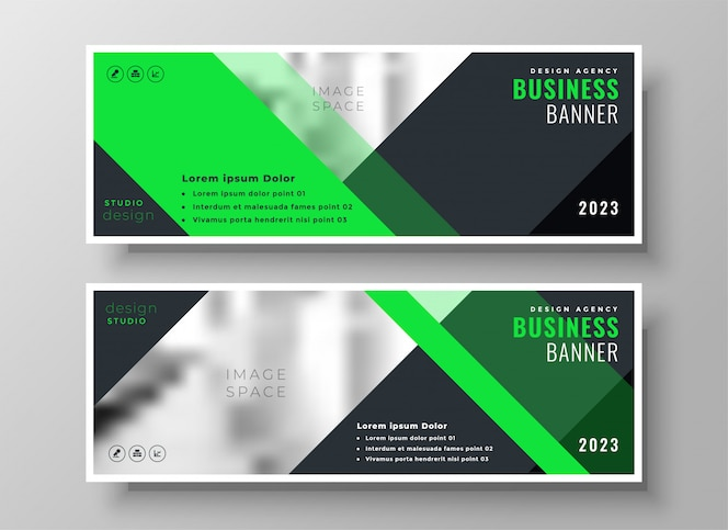 Banners de negocios web brillante en estilo geométrico