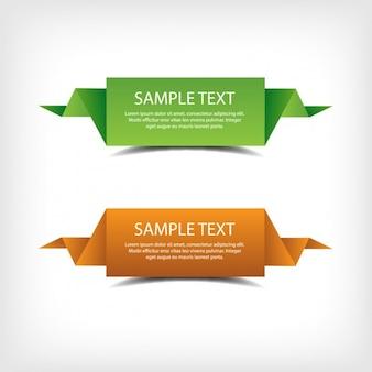 Banners de origami verde y naranja