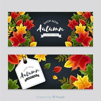 Banners de otoño con bonitas hojas
