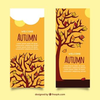Banners de otoño dibujados a mano