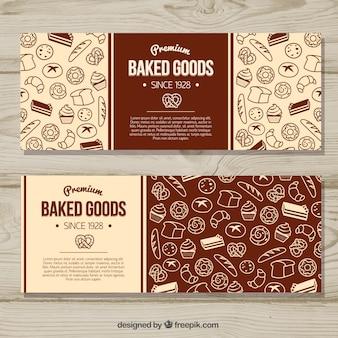Banners de panadería con dulces y pan en estilo plano