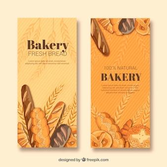 Banners de panadería con pasteles y pan
