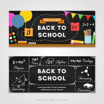 Banners de pizarra de colegio con diseño plano