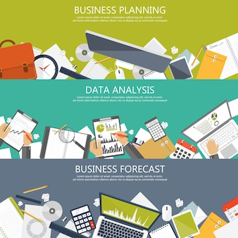 Banners de planificación, análisis y previsión