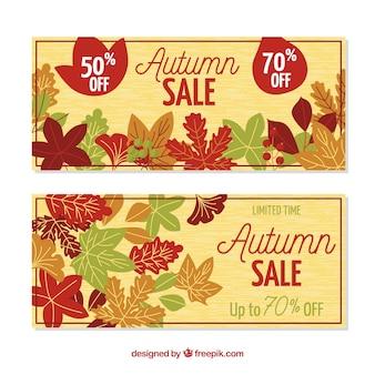 Banners de rebajas de otoño con diseño plano