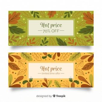 Banners de rebajas de otoño con hojas