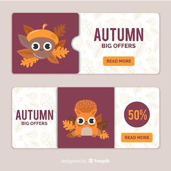 Banners de rebajas de otoño con simpáticos personajes
