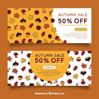 Banners de rebajas de otoño dibujados a mano