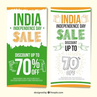 Banners de rebajas del día de la independencia de la india