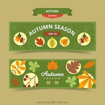 Banners de temporada de otoño con vegetación