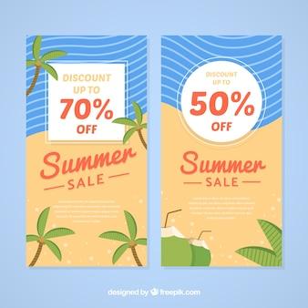 Banners de venta de verano con elementos de playa