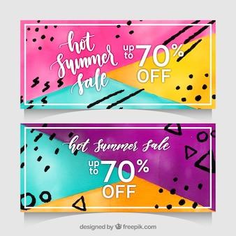 Banners de venta de verano con memphis en estilo acuarela