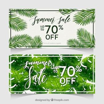 Banners de venta de verano con plantas en estilo acuarela