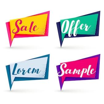 Banners de venta moderna en diferentes colores