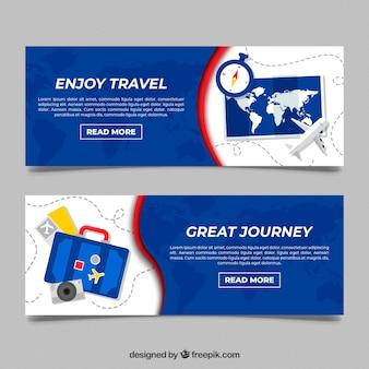 Banners de viaje con diseño plano