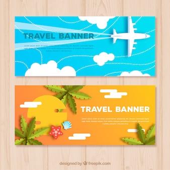 Banners de viaje en estilo plano