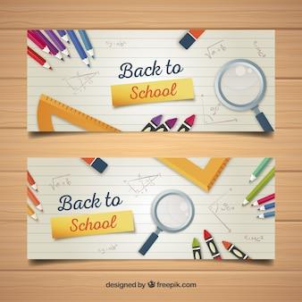 Banners de vuelta al colegio con diseño plano