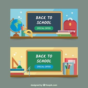 Banners de vuelta al colegio con elementos