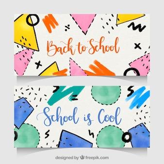 Banners de vuelta al colegio con estilo de acuarela