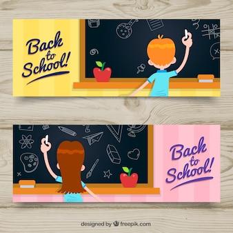 Banners de vuelta al colegio con estilo de dibujo a mano