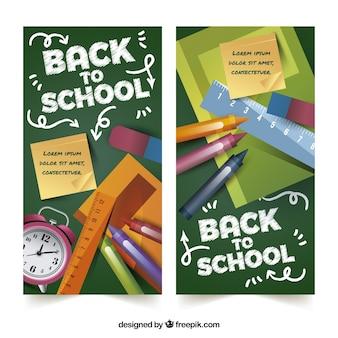 Banners de vuelta al colegio con estilo realista
