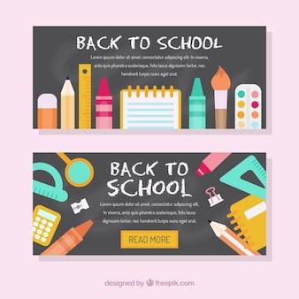 Banners de vuelta al colegio en estilo plano