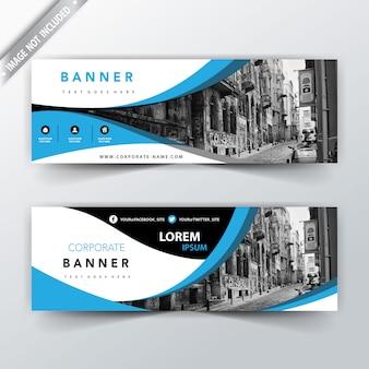 Banners de web azul ondulado de negocios