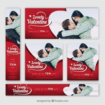 Banners de web del día de san valentín