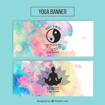 Banners de yoga de acuarela con símbolo del ying yang y silueta