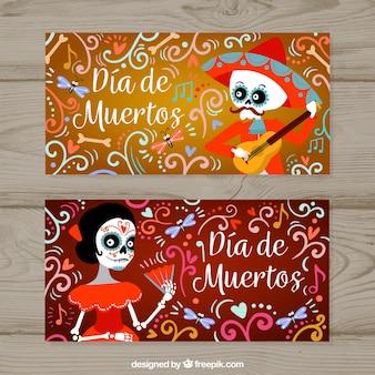 Banners decorativos y divertidos del día de muertos