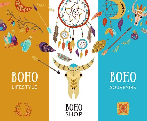 Banners decorativos de estilo de vida de recuerdo boho.
