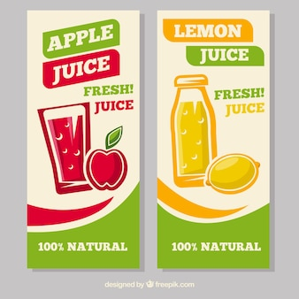 Banners decorativos con zumos de manzana y limón en diseño plano