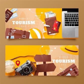 Banners degradados del día mundial del turismo con foto
