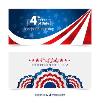 Banners del día de la independencia de ee.uu. con diseño plano