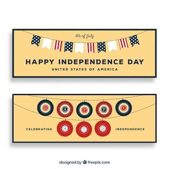 Banners del día de la independencia de ee.uu. con estilo vintage
