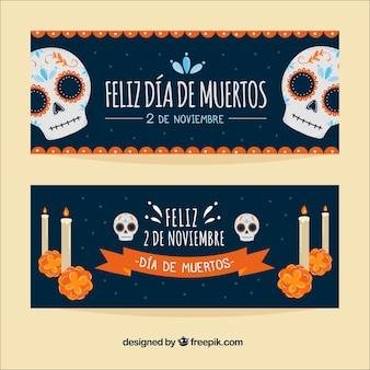 Banners del día de muertos con calaveras y velas