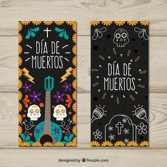 Banners del día de muertos con elementos dibujados a mano