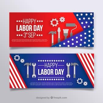 Banners del día del trabajo con diseño plano
