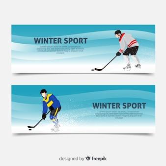 Banners de deporte de invierno